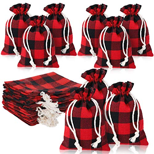 24 Pieces Buffalo Plaid Drawstring Bag Plaid Burlap Bags Christmas Drawstring Bags Washable Cotton Xmas Bag for Candy Wrapper Birthday Christmas Party Favor (Red and Black Plaid)