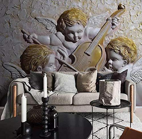 Wandschilderij aangepaste 3D mooi driedimensionaal reliëf Europese kleine engel muziek viool poster behang slaapkamer woonkamer café 400(w)x280(H)cm