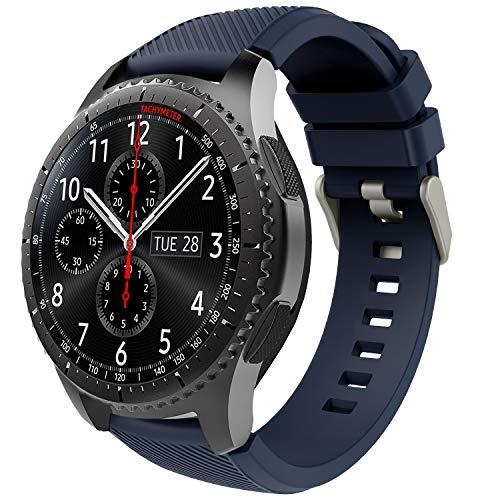 TiMOVO Pulsera para Samsung Gear S3 Frontier/Galaxy Watch 46mm, Pulsera de Silicona, Correa de Reloj Deportivo, Banda de Reloj de Silicona - Azul Medianoche