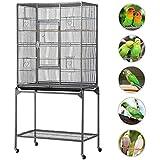 Yaheetech Cage Oiseaux 81 x 47 x 160 cm Volière Perruche Perruquet Canaris sur roulettes avec Support Détachable