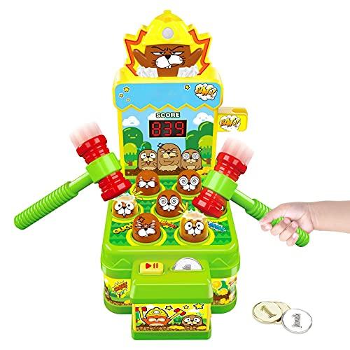 Whack Spiel, Schlag den Maulwurf, Elektronisches Mini Arcade Spielzeug, Münzspiel mit 2 Hämmern, Ausbildung Konzentration und Reaktion,Hammerspiel Spielzeug für Jungen Mädchen im Alter von 2-7 Jahren
