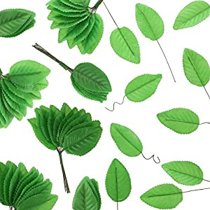 200 Pieces Leaves with Wire Silk Artificial Leaves for Flower DIY Home Christmas Wedding Corsage Bouquet Wreaths Party Decoration