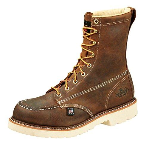 "Thorogood 804-4378 Men's American Heritage 8"" Moc Toe, MAXWear 90 Safety Toe Boot, Trail Crazyhorse - 10.5 2E US"