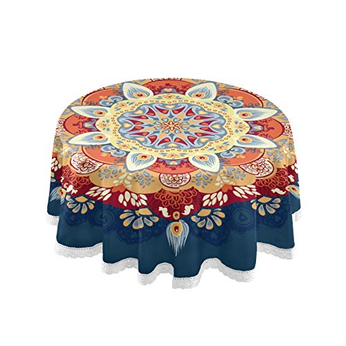 ALAZA Orange and Blue Mandala on Boho Round Tablecloths Cover Table Cloth Cover Mat Picnic Table Cover Oilcloth Camping Tablecloth Tabletop Dining Room Kitchen Round 60 Inch for Outdoor