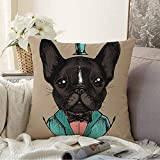 Staroapr Pillow Covers Decorative SquareDesign Bow Gentleman French Linear Bulldog Tuxedo Hand Man Drawn Beauty Fashion Doggy Tie Textures Pillowcase Soft Cushion Case for Sofa Bedroom Car 16x16 Inch