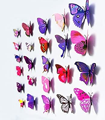Amaonm® 120Pcs 3D Butterfly Purple Stickers Making Stickers DIY Wall Stickers Crafts Butterflies For Boy's And Girl's Room