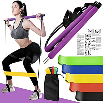 Soulmate Secret Pilates Bar with Resistance Bands Set, Home Gym Yoga Exercise Portable Stick Toning Bar with Foot Loop for Total Body Workout, Stretching, Sculpt, Twisting & Sit-Up
