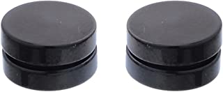 Mens Womens Cool Round Black Acrylic Magnetic Clip On Stud Earringss