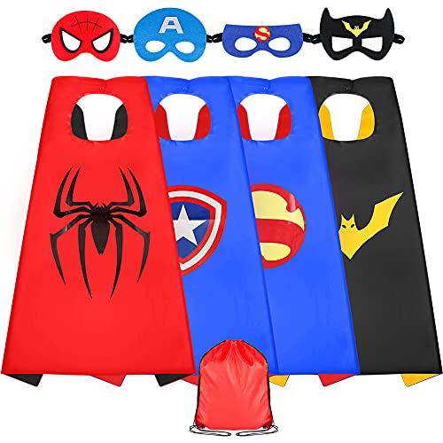 Sinoeem Superhelden Kostüm Kinder 4 Stücke Kostüm mit Maske Spielzeug ab 3-12 Jahren Mädchen Kinderkleidung Geschenke für Kindergeburtstag, Halloween oder Karneva (4 Stücke)