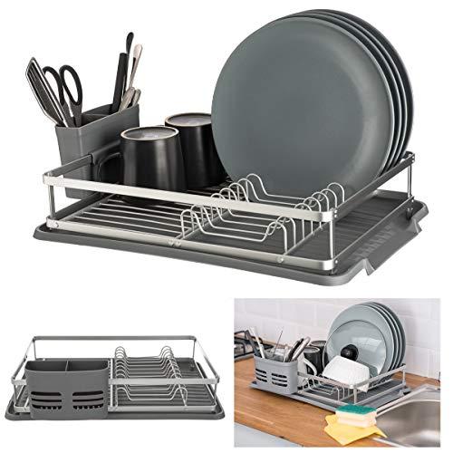 Kitchencraft Escurreplatos Cromado 42 cm x 30.5 cm x 15.5 cm Bandeja de Goteo Pl/ástico Negro