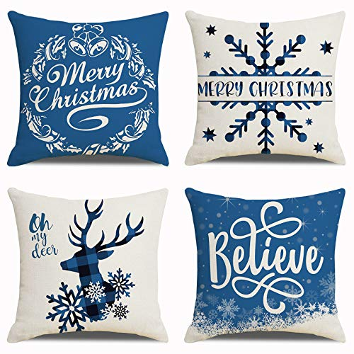 CHIMAERA Blue Christmas Pillow Covers 18 x18Inch Snowflakes Winter Decorative Couch Pillow Cases, Set of 4 Blue Cotton Linen Christmas Decorative Cushion Case for Home Decor …