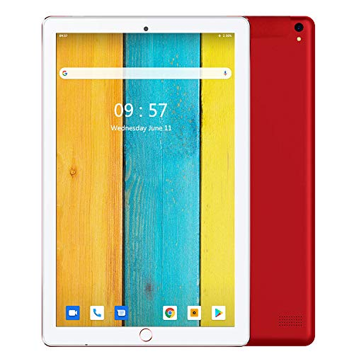 Tablet 10.1 Pulgadas Android 9.0 Dobles SIM 4G LTE 32 GB de Memoria 3GB de RAM Tableta Procesador Quad-Core y Doble Cámara, GPS Bluetooth WiFi Soporte (Rojo)