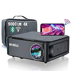 💖【9000 Lumens Vidéoprojecteur WiFi Bluetooth Full HD 1080P Supporte 4K】Ce dernier Vidéoprojecteur Full HD 1080P WiMiUS K1 est livré avec une Sacoche. Il possède une résolution native 1920*1080p, une haute luminosité 9000 lumens, et un ratio de contra...