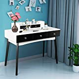 Computer Desk with 5 Drawers Home Office Writing Desk Student Study Laptop Workstation Modern Simple Makeup Vanity Table for Small Space (Black and White)