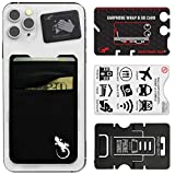 Double Pocket Gecko Phone Wallet - Smartphone Adhesive Card Holder - Cell Phone Pouch - Mobile Stick on Lycra Pocket by Gecko - Carry Credit Cards and Cash – (Black-White)