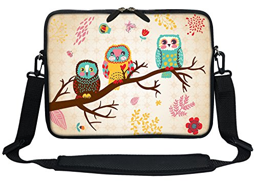 Meffort Inc 11 11.6 12 Inch Neoprene Laptop Sleeve Bag Carrying Case with Hidden Handle and Adjustable Shoulder Strap - Three Owls