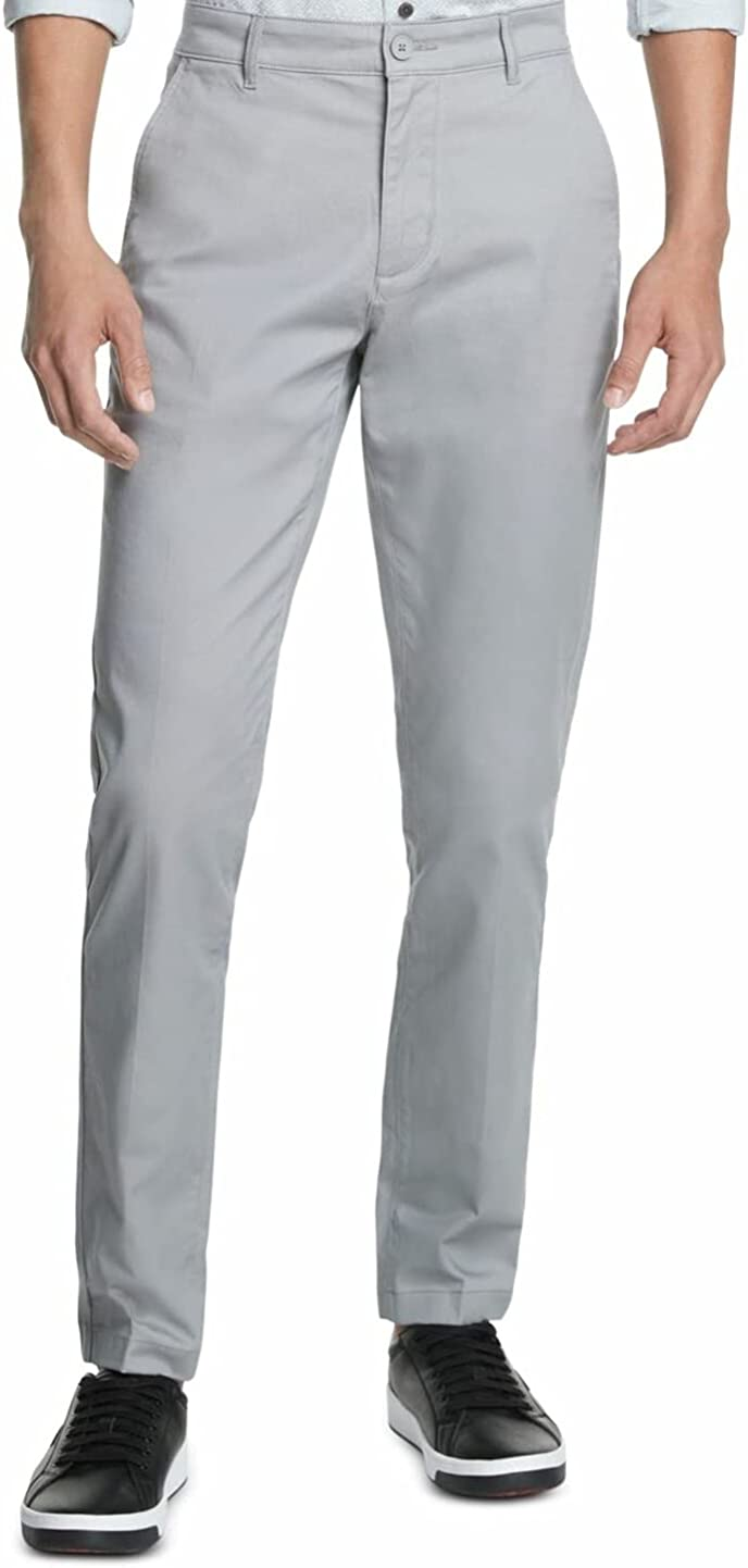 DKNY Mens Gray Tapered Straight Fit Stretch Pants 30W/ 30L