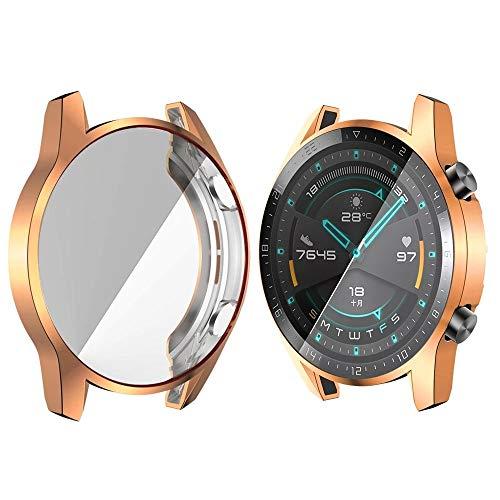BZN Smart Watch Case per Huawei Watch GT2 46mm TPU Caso di Orologio all Inclusive (Color : Rose Gold)
