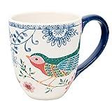 Duo Jumbotasse Becher XXL folkloristische Deko 810ml aus Keramik Trinkbecher Smoothie Becher Geschenk Büro Tasse für Kaffee Teetasse Cappuccino Kaffeebecher Jumbo-Tasse Riesentasse XXXL (Spring Bird)