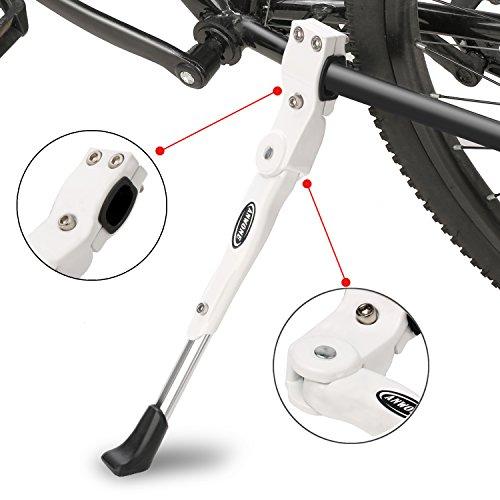 ANWONE Caballete Lateral Ajustable, Soporte de Bicicleta de aleación Ajustable MTB con pie de Goma Antideslizante, Soporte de pie de aleación Universal para Bicicleta 22'-29'(Blanco)