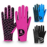 ECLOUR Kids Horse Riding Gloves with Non-Slip Grip and Finger Touch Design for Multi Sports Activities Like Cycling, Fishing, Running, Gardening for Boys and Girls (Black/Pink, Age 8-10 Years)