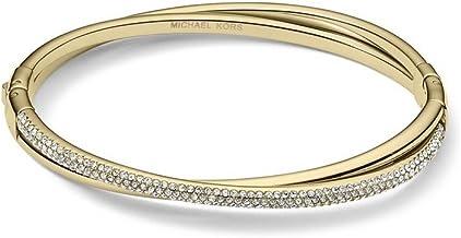 Michael Kors MKJ3277 CrissCross Gold Steel Crystal Pave Women's Bracelet