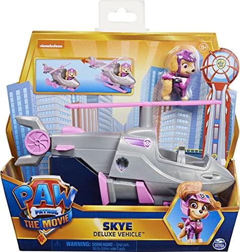 PAW PATROL Skye s Deluxe Movie Transforming Toy Car con Figura de acción Coleccionable, Juguetes para niños a Partir de 3 años