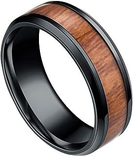 Republe Uomini 8mm Retro Titamium e Tarsia Lignea anello in acciaio inox Anello fascia di cerimonia nuziale Anello Accesso...