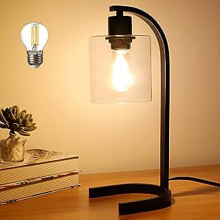 Depuley Lampe de Table Métal, Lampe de Chevet de Nuit en Fer Noir, Abat-jour en Verre Transparent, Ampoule E27 Fournie, Fa...