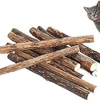 Mumoo Bear Catnip Sticks 40 Pcs Organic Cat Catnip Toys Natural Plant Matatabi Silver Vine Chew Sticks, Brown