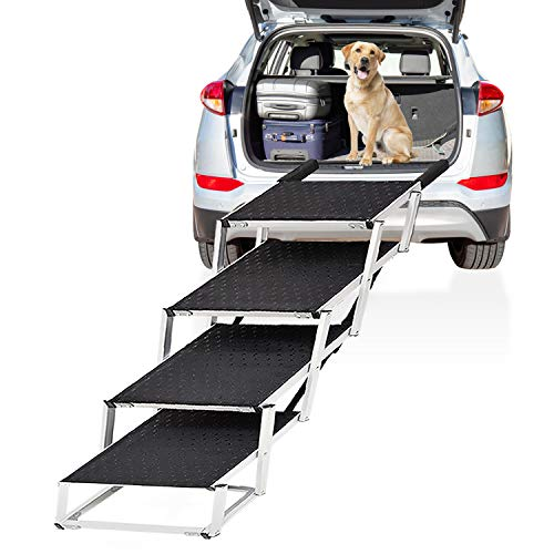 """Extra Wide Dog Car Stair, 4-Step Folding Lightweight Aluminum Pet Ramp, 19.2"""" Widen Steps with Nonslip Surface Portable Ladder for High Bed, Cars, Trucks and SUVs, Support 150 to 200 Lbs Large Dog"""