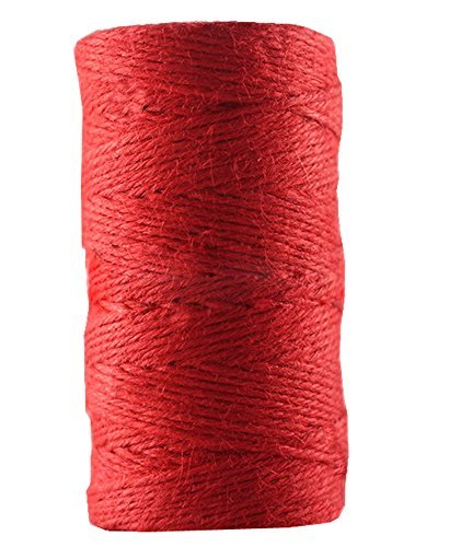 Huachnet Red Jute Twine Best Arts Crafts Twine Industrial Packing Materials Heavy Duty Durable Natural Twine 3 Strands for Gardening Applications-2mm(W)100 Meters(L)