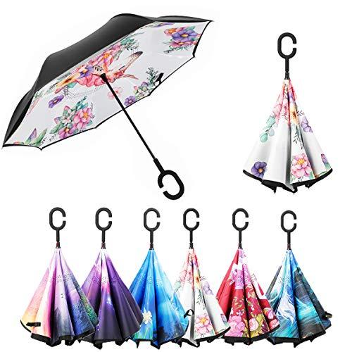 Paraguas Invertido Unicornio, Paraguas Plegable, Reversible, con protección contra Rayos UV, con Mango en Forma de C Invertida. Paraguas de Doble Capa a Prueba de Viento
