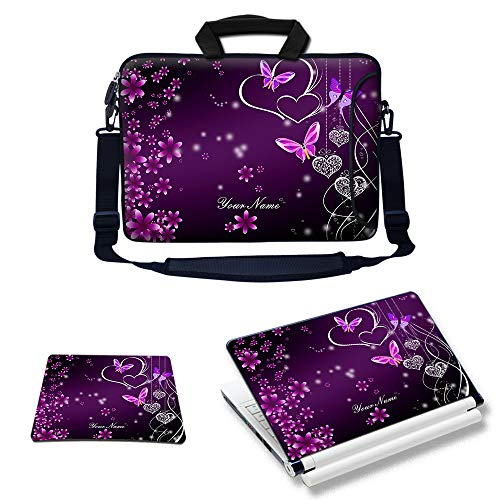 Meffort Inc Custom/Personalized Laptop Bundle Deal - Includes Bag with Side Pocket Skin Sticker & Mouse Pad, Customized Your Name (10 Inch, Purple Hearts Butterflies)