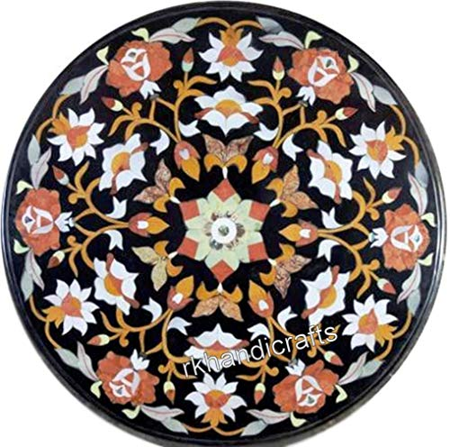 Indian Handcrafted Flower Design Marble Coffee Table Top Round Patio Sofa Table Top Size 21 x 21 Inches
