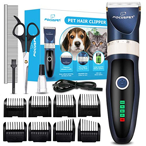 Focuspet Dog Clippers,Low Noise Dog Grooming Clippers Rechargeable Cordless...