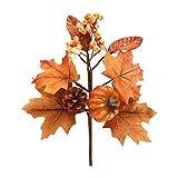 ZCFGUOI 6 piezas de hojas de arce artificiales de calabaza tallos, ramas de hojas de arce de simulación con bayas de piña para jarrón de Acción de Gracias, Halloween, decoración de corona