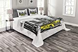 Ambesonne Sketchy Bedspread, Yellow Hand Drawn Cab in New York Street Cityscape American Urban Life Art, Decorative Quilted 3 Piece Coverlet Set with 2 Pillow Shams, Queen Size, Yellow Black
