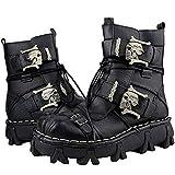 JIANGJIE Mens Vera Pelle Esercito Militare Impermeabile Stivali Traspirante Gotico Cranio Punk Moto Martin Stivali Mid Heel,Black,48