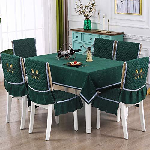 YCDZ Juego De Mantel De Cojín para Silla De Comedor Simple Y De Moda, Mantel para Mesa De Café, Funda para Silla Nórdica, Funda para Cojín De Tela para Mesa De Comedor (Verde Oscuro,Especifica