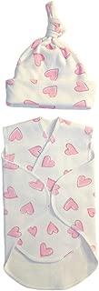 Jacqui's Baby Girls' Preemie Pink Hearts Snuggler Wrap Set, Preemie
