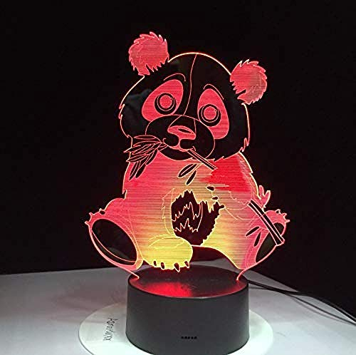 3D Led Night Light Panda Eating Bamboo Colorful Visual Kids Lamp Touch Control Gift 7 Colors USB Decor Lamp