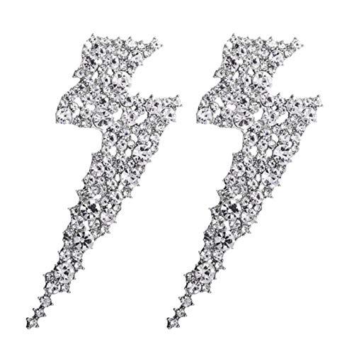 2021 à la Mode exagéré métal Strass Foudre Boucles d'oreilles pour Femmes Simple Style européen géométrique Boucle d'oreille Bijoux de fête