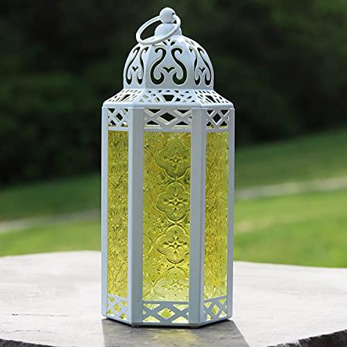 Vela Lanterns White Decorative Candle Lanterns, Medium, Yellow Glass