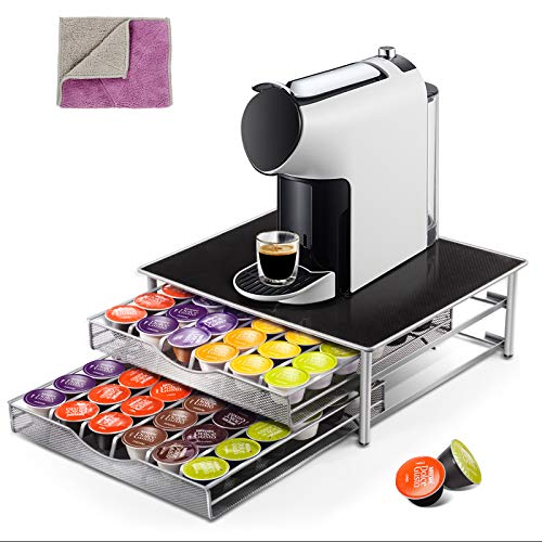 Masthome Kaffee Kapselhalter zur Aufbewahrung von 60-72 Kaffeekapseln Aufbewahrungsbox Dolce Gusto Schublade für Kaffeekapsel mit rutschfeste Oberfläche-Hergeben 1 Lappen