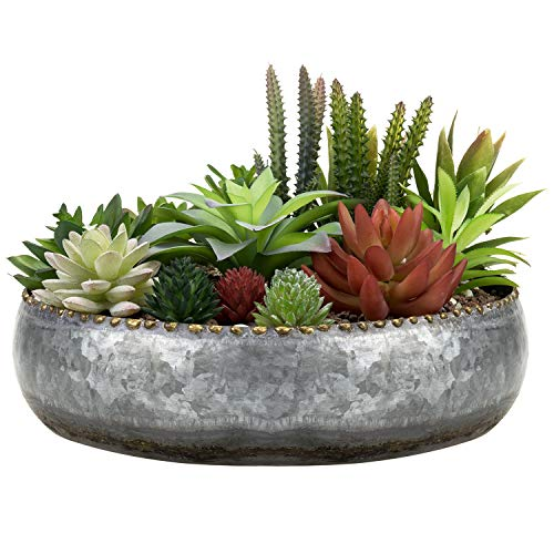 MyGift 11-inch Galvanized Silver Metal Round Planter Bowl with Brass-Tone Pebbled Rim
