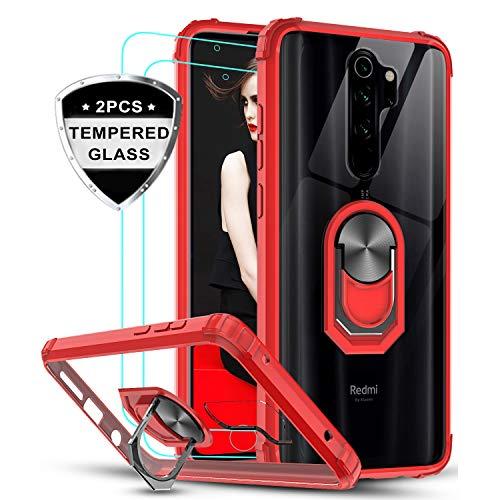 LeYi für Xiaomi Redmi Note 8 Pro Hülle mit Panzerglas Schutzfolie(2 Stück),Ringhalter Schutzhülle Crystal Clear Acryl Cover Air Cushion Handy Hüllen für Case Xiaomi Redmi Note 8 Pro Handyhülle Rot