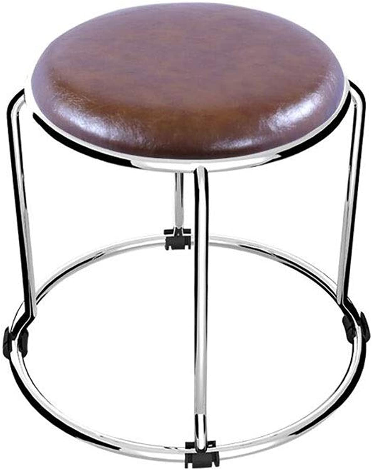 YCSD Stool Stainless Steel Stackable Small Round Stool, Home Art Stool PU Soft Footstool Lightweight furniture (color   BROWN)