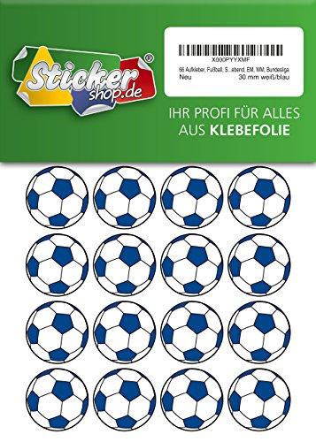 66 Aufkleber, Fußball, Sticker, 30 mm, weiß/blau, aus PVC, Folie, bedruckt, selbstklebend, EM, WM, Bundesliga