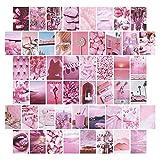Pristar 50 Hojas Collage de Pared, Pegatina de Pared Rosa para Decoración de Habitación de Niña, Pap...